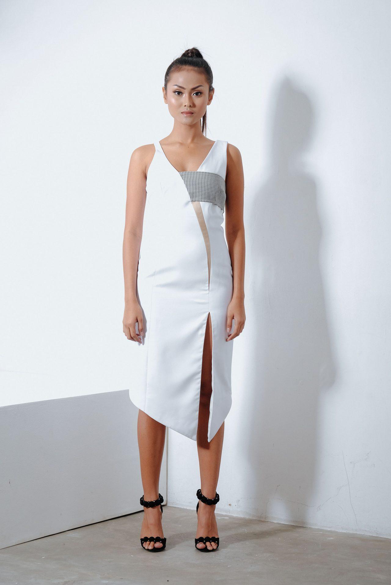 11103–V-neck-Midi-Dress